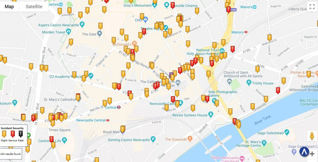 Newcastle-Upon-Tyne Car Accident Statistics