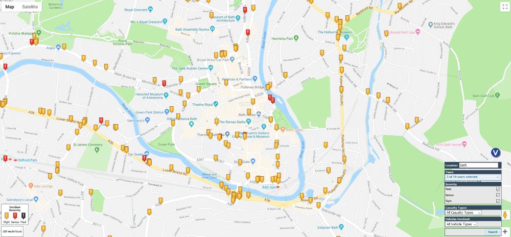 Bath road accident map