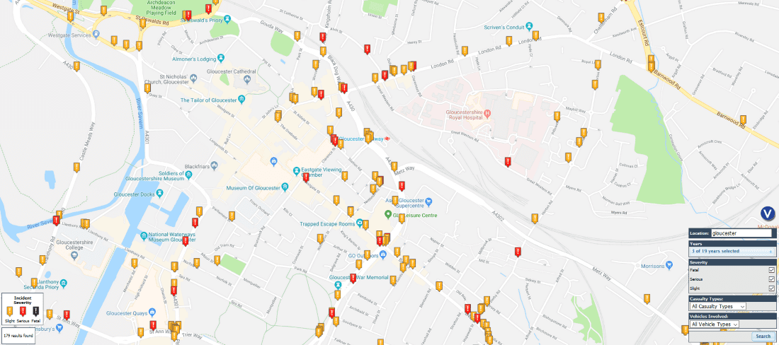 Gloucester road accidents map