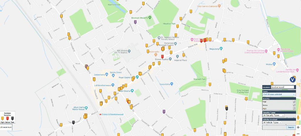 Borehamwood road accident map