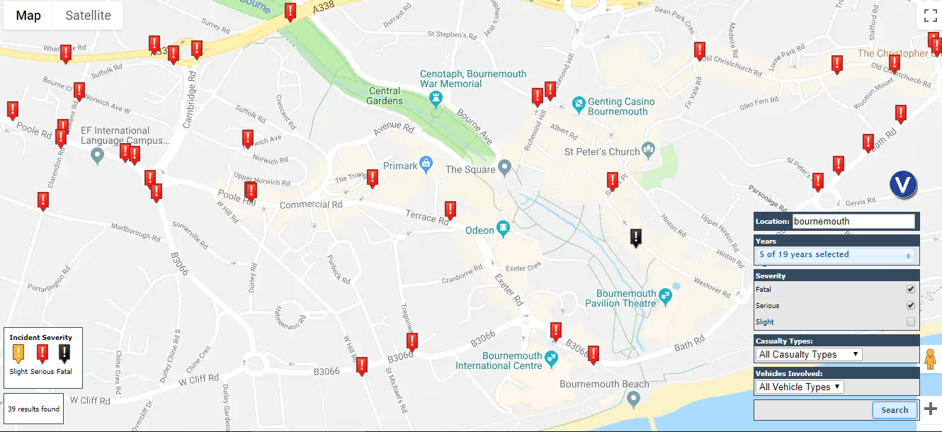 Bournemouth car accident map