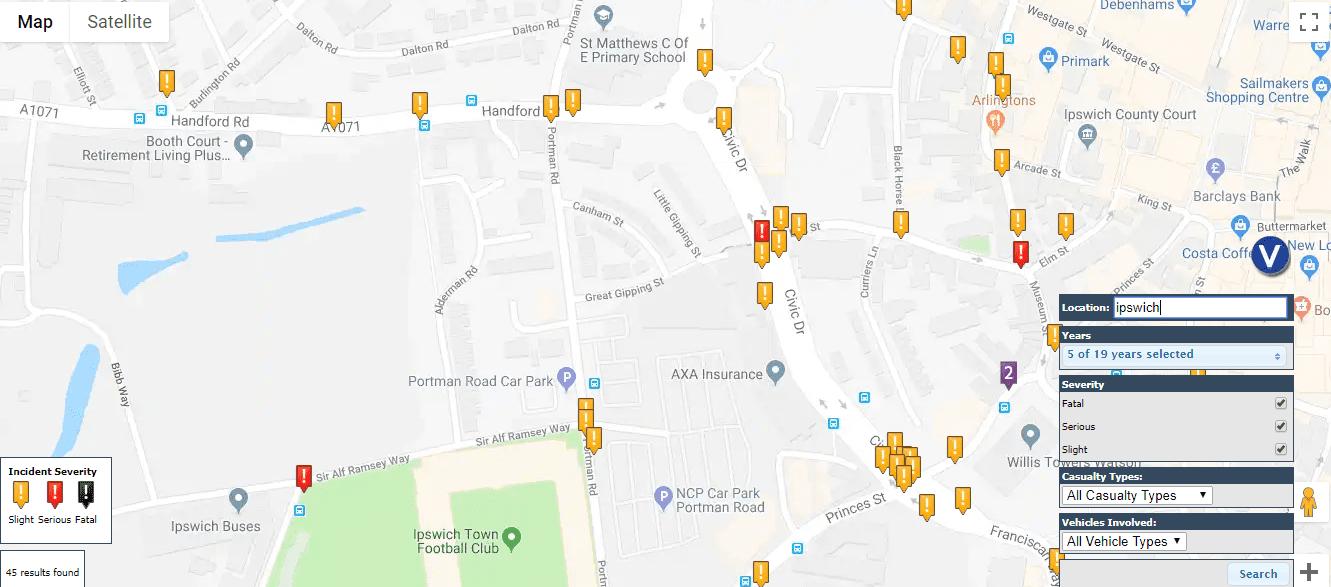 Ipswich road accident map
