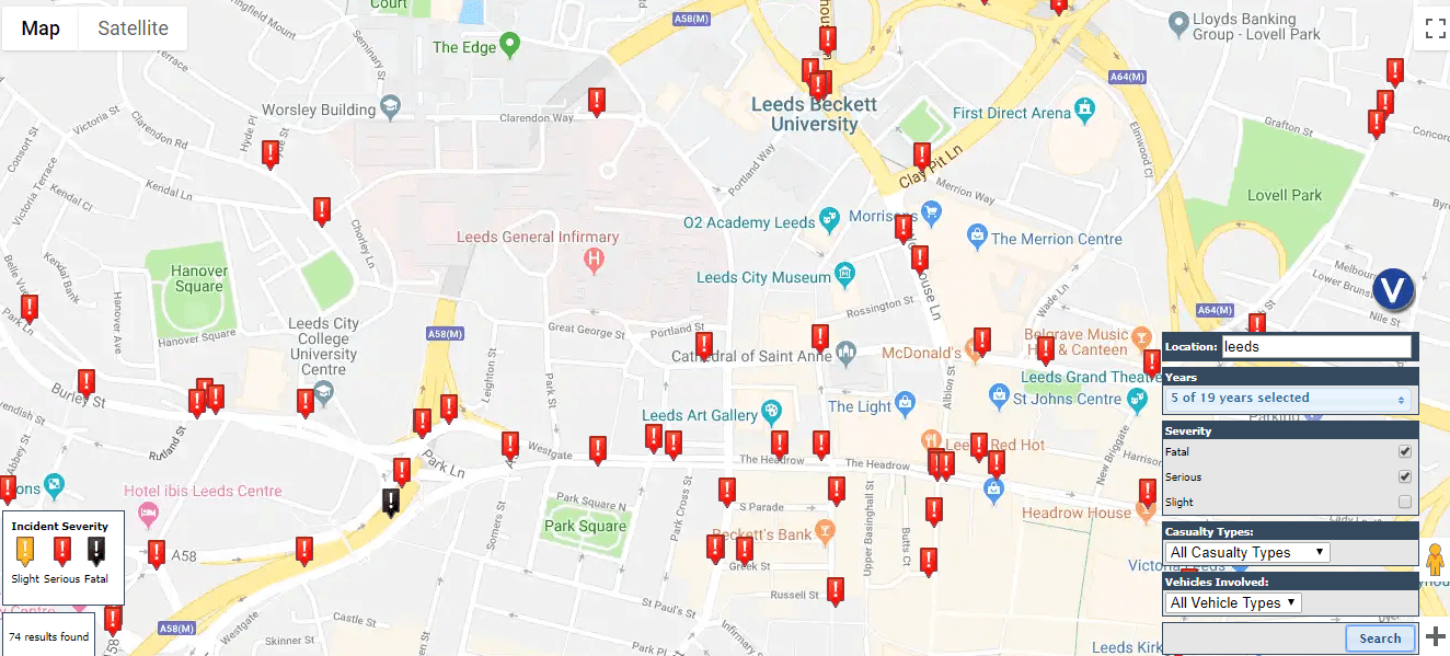 Leeds road accident map