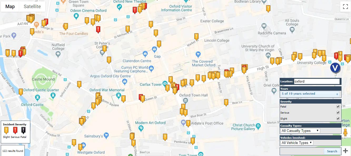 Oxford road accident hotspots