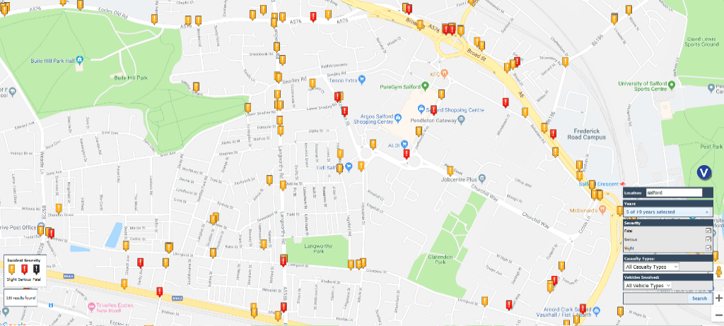 Salford road accident map