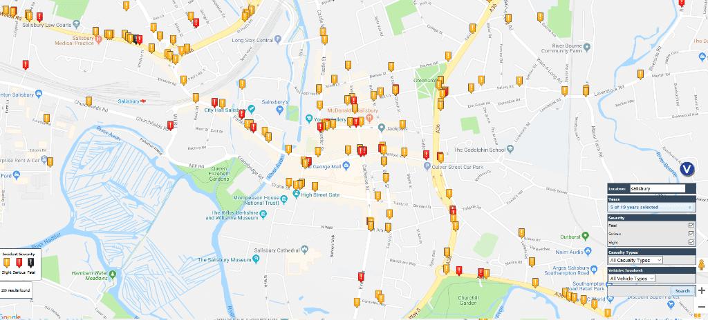 Salisbury road accident map