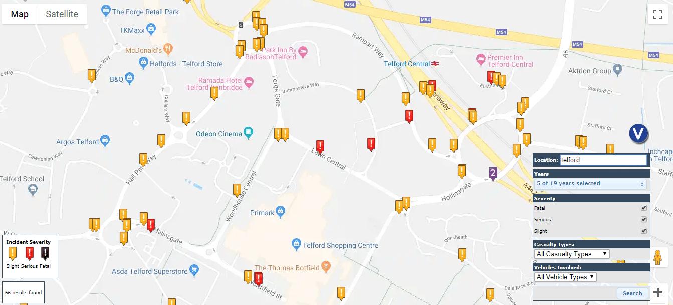 Telford road accident hotspots
