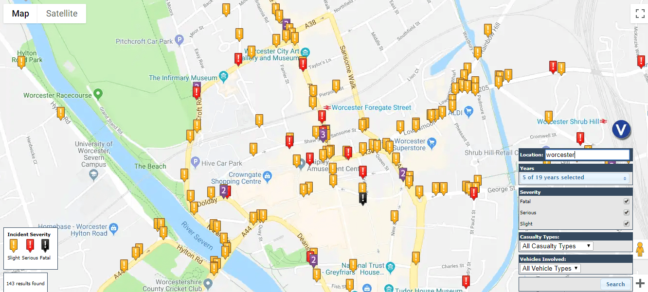 Worcester road accident map