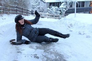 Slipping on ice at work